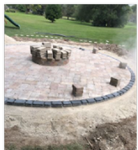 Round Patio Design with Firepit Progressing (1)